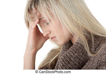Migraine - Young caucasian woman (student or businesswoman)...
