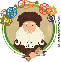 Leonardo Da Vinci Cartoon - Cute cartoon of Leonardo Da...