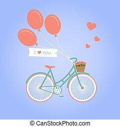 Illustration with bike and flowers - Bicycle with basket...