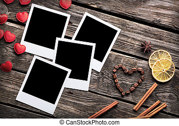 Four blank instant photo frames with heart - Four blank...