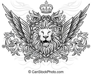 Lion on Shield Winged Insignia