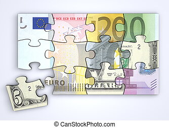 Mixed Dollar and Euro Note Puzzle with Separate Dollar Piece