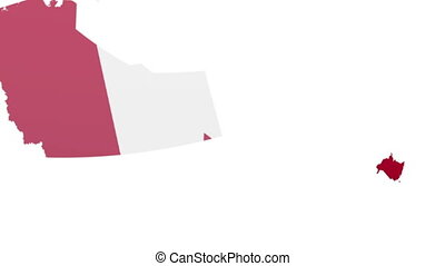 creating map Canada - shapes of states flying in to create a...