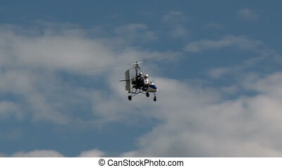 Flight vehicle aerial shot. - Piloted flight vehicle in a...