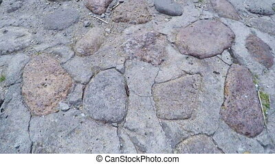 Stone pavement roadway - In film studios Mosfilm Old Moscow...
