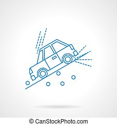 Car on slope flat line vector icon - Car moving down the...