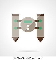 Unmanned robot flat color design vector icon - Floating...