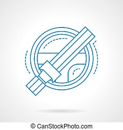 Steering wheel and safety belt line vector icon