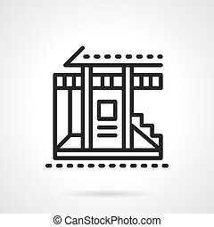 Vacation house black line vector icon - Facade of cottage...