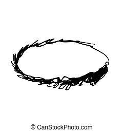 Grunge vector frame oval shape