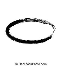 Grunge vector frame oval shape Ink oval frame An old frame...