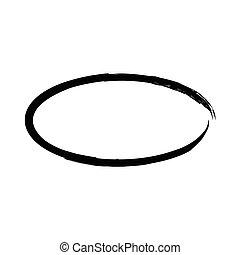 Grunge vector frame oval shape. Ink oval frame. An old...