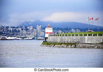 Lighthouse in Stanley park at sunset. Vancouver. Canada.
