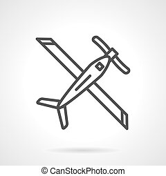 Biplane black line vector icon - Plane with wings, biplane...