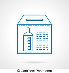 Donation for orphanage flat line vector icon - Donation box...