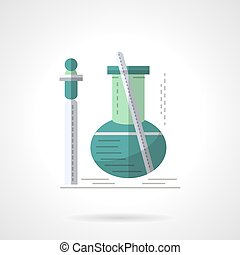 Biochemistry research flat color vector icon - Green bulb...
