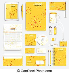 Yellow set of vector corporate identity template. Modern business stationery mock-up. Medicine, science, technology backgraund with molecule