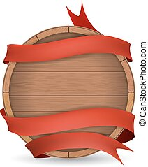 Wooden barrel wrapped in red ribbon Wooden label for wine...