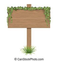 wooden sign ivy grass