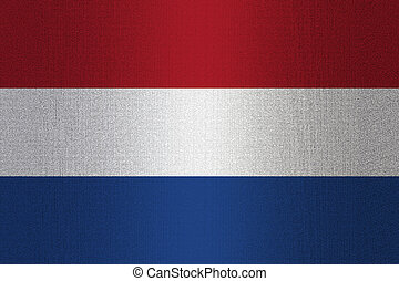 Flag of Netherland on stone wall background.