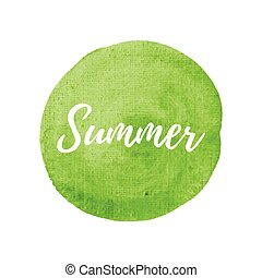 Summer vector on hand drawn green watercolor background illustration