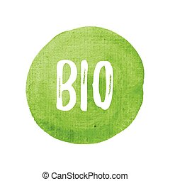 Bio vector on hand drawn green watercolor background illustration