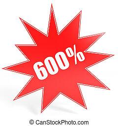 Discount 600 percent off. 3D illustration. - Discount 600...