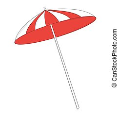 beach umbrella - red and white beach umbrella
