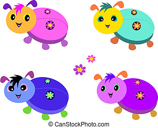 Mix of Cute Ladybugs - Here is a group of colorful Ladybugs