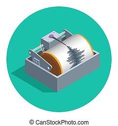 terremoto, sismógrafo, icono,