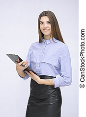 Portrait of businesswoman with tablet posing on isolated...