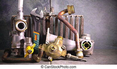 part of gas boiler, water fittings and adjustable spanner