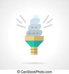 Eco idea flat color design vector icon - Illuminated spiral...