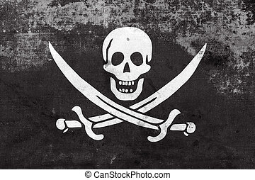 Calico Jack Pirate Flag with a vintage and old look