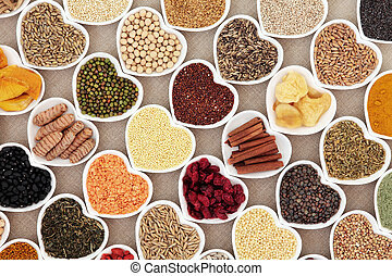 Dried Super Food - Dried health food in heart shaped bowls...