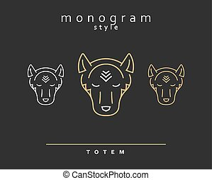 Monogram wolf. Wolf Totem . A set of monogrammed wolves