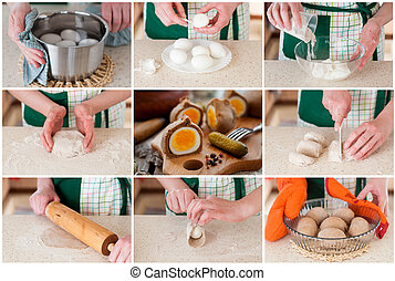 A Step by Step Collage of Making Rye Dough Wrapped Eggs - A...