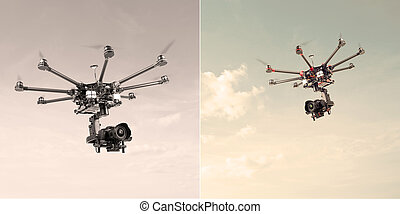 Octocopter, copter, drone - Proffeseonalny oktokopter with...