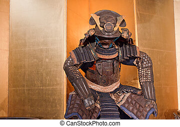 samurai armor - historic samurai armor on yellow