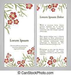 Flayers with floral pattern - forget-me-not graphic flowers