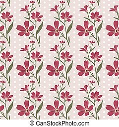 Vector seamless tiling pattern - romantic flowers For...