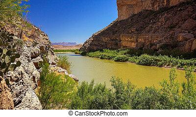 Rio Grande River and Santa Elena Canyon at Big Bend National...