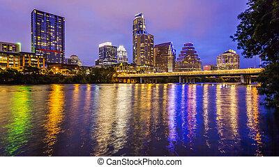 Austin, Texas Skyline and City Lights at Night