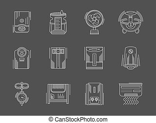 Household appliances white flat line vector icons - Climatic...