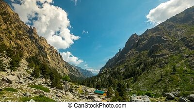 4K, Time Lapse, View on a gorge, Restonica Valley, Corsica -...