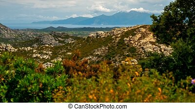 4K, Time Lapse, Mountain Range at Urtaca, Corsica - Tilted...