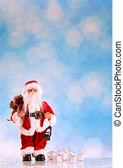 Santa Claus on tblue background - Santa Claus with a big bag...