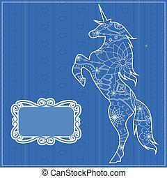 Blue backdrop with unicorn