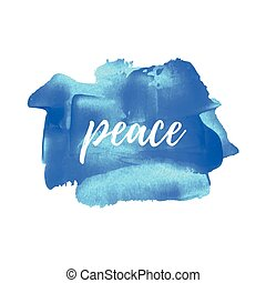 Peace word, logo, card, poster, text, written on painted blue background