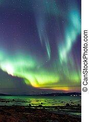 boréal, aurore,  /, nord, lumières